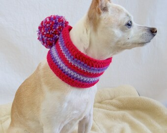 Pink and Purple Pom Pom Wide Dog Scarf, Collar Style, Made to Order, Vegan Dog Scarf
