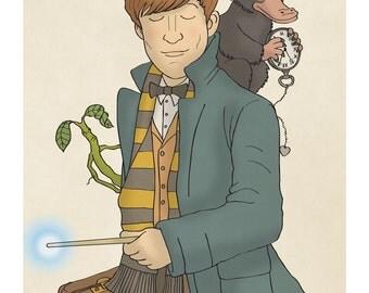 Newt Scamander - Fantastic Beasts - Bowtruckle - Niffler - Illustration Print