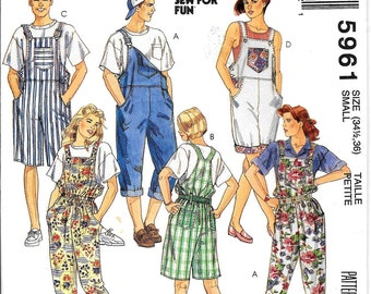 Overall Pattern Bib Overalls Shorts Jumper Shortalls Buckle or Button Unisex 1990s McCalls 5961 Size Small Uncut