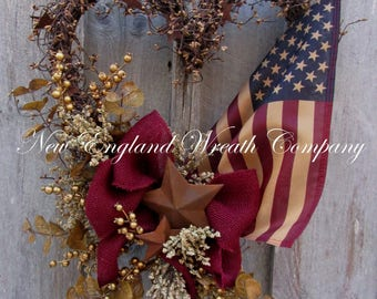 Patriotic Wreath, Americana Wreath, Fourth of July Wreath, Primitive Patriotic, Military Heart Wreath, Memorial Day Wreath, Tea Stained Flag