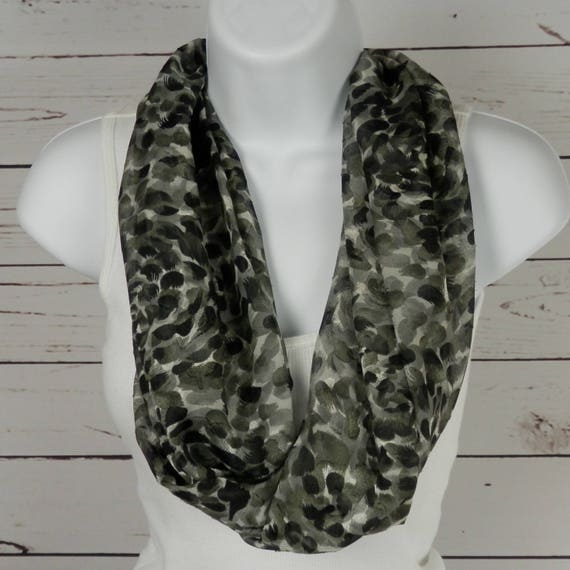 Black and Gray Infinity Scarf / Sheer, Textured Jacquard / Feather Brush Stroke Design/  Handmade Fasion by Thimbledoodle