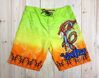 JNCO Shorts Boardshorts Dragon Tribal Neon Swim Shorts Men's 34 Jnco Jeans Vaporwave Cloud Rap Rave Shorts Club Kid Festival Shorts Rad Boyz