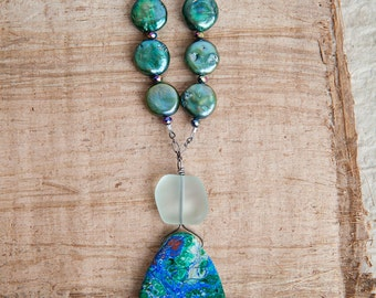 One of a Kind Necklace, Blue Green, Chrysocolla Necklace, freshwater Pearl, Green Pearl, Sea Glass, Long Necklace, Teardrop Necklace