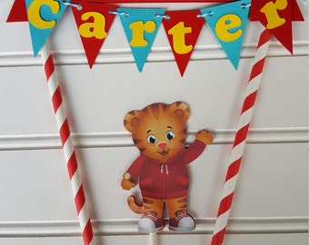 Daniel the Tiger Cake Topper, Daniel the Tiger Party decorations. Daniel Tiger Birthday. First Birthday. 1st Birthday. Cake topper.  Bunting