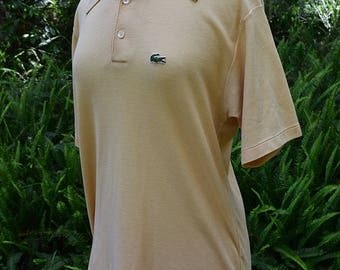 Cream Polo Lacoste Short Sleeve Shirt Vintage Raglan T Shirt 1970s 1980s