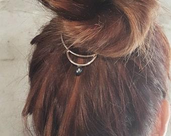 Hair Bun Jewelry, Pearl Hair Cuff, Boho Hair Accessories, Metal Bun Ring, Hair Jewelry, Bridal Bun Holder, Bun Pin, Bun Cuff, Gift for Her