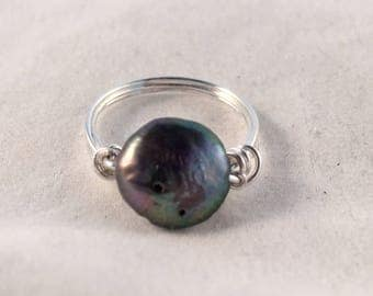 Purple Pearl Silver Ring, Freshwater Coin Pearl Wire Wrapped Handmade Ring, United States Ring Size 5.5 or Custom Made to Your Size