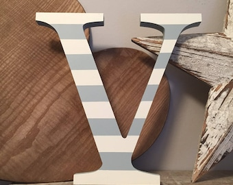 Painted Wooden Letter V - Large , Georgia Font, 50cm high, almost 20 inch, any colour, wall letter, wall decor, 18mm, price per letter