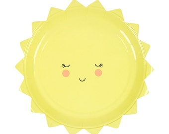 Sun Paper Plates by Meri Meri | Baby Shower Paper Plates | Small Sun Party Plate