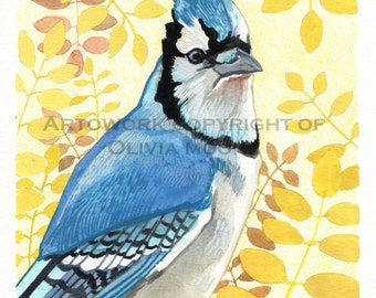 Bluejay Bird Art - Original Watercolor Painting - Original Bird Wall Art - Woodland Home Decor - Colorful Art