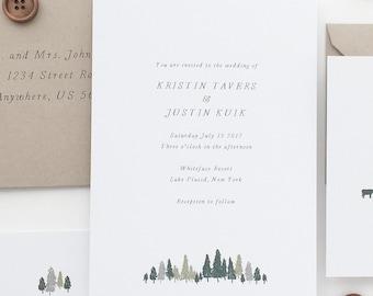 Whimsical Wedding Invitation Sample - Kristin | Tree Wedding Invitations | Mountain Wedding Invites | Green Wedding Invitations