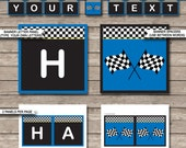 Blue Race Car Birthday Banner - Happy Birthday Banner - Custom Banner - Party Decorations - Bunting - INSTANT DOWNLOAD with EDITABLE text