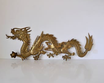 Large Brass Five Claw Dragon Wall Hanging