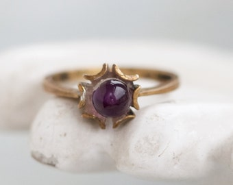 Dainty Purple Ring - Antique Sterling Silver with Golden Finish - Size 5.5