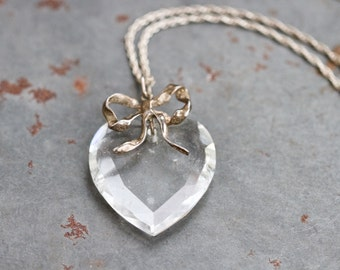 Darling Heart Necklace - Vintage Sterling Silver and Glass Love Pendant on Chain - New Romantics