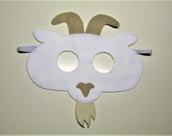 Goat felt mask white handmade farm animal for kids adults Halloween Dress up play Costume accessory photo props Theatre roleplay