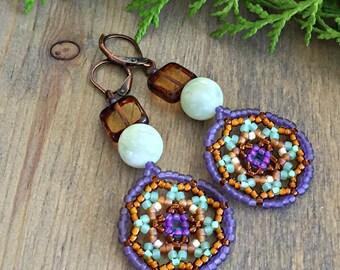 Sap Moon earrings , amber , purple Huichol jewelry