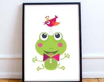 Green frog nursery decor, baby nursery decor, baby room decor, green nursery, animal prints, kids art print, kids wall art, nursery wall art