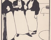 "Aubrey Beardsley ""Waiters"" Postcard -- 1957"