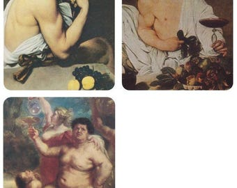 Bacchus (Dionysus), god of agriculture and wine. The only 3 paintings of Bacchus ever existed. Postcards Published in -- 1980s