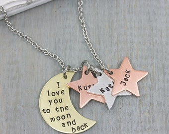 I Love You To The Moon And Back Personalized Necklace - Hand Stamped Jewelry - Personalized Jewelry - Kids Name Necklace