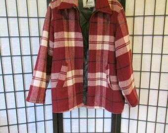 Vintage Johnson Woolen Mills Jacket 1970s Wool Plaid Maroon Dark Red Cream Large 46 48 Quilted Lining