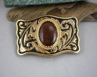 Mahogany Obsidian Gold Western Belt Buckle - Item 1842