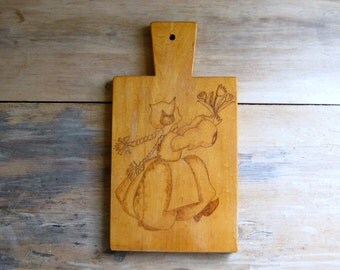 Vintage Scandinavian Cutting Board, Pyrography, Folk Art