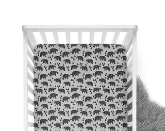 Fitted Crib Sheet Geometric Bear Grey - Grey and Brown -Woodland Crib Sheet-Bear Crib Bedding-Bear Crib Sheet-Organic - GreySheet