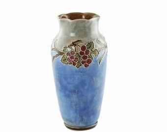 Antique Doulton Lambeth Vera Huggins Florrie Jones Grape Motif Vase Arts and Crafts