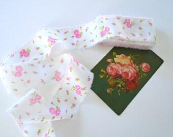 Sweet Pink Rose Vintage Ribbon / 5 Yards / Fabric Ribbon / Torn Ribbon / Ripped Ribbon / Shabby Chic Decor /  Party Streamers / Rose Decor