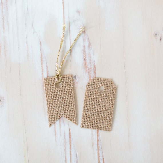 Burlap Fabric Small Gift Tags with Twine - Choose Flag or Classic - 10 pc