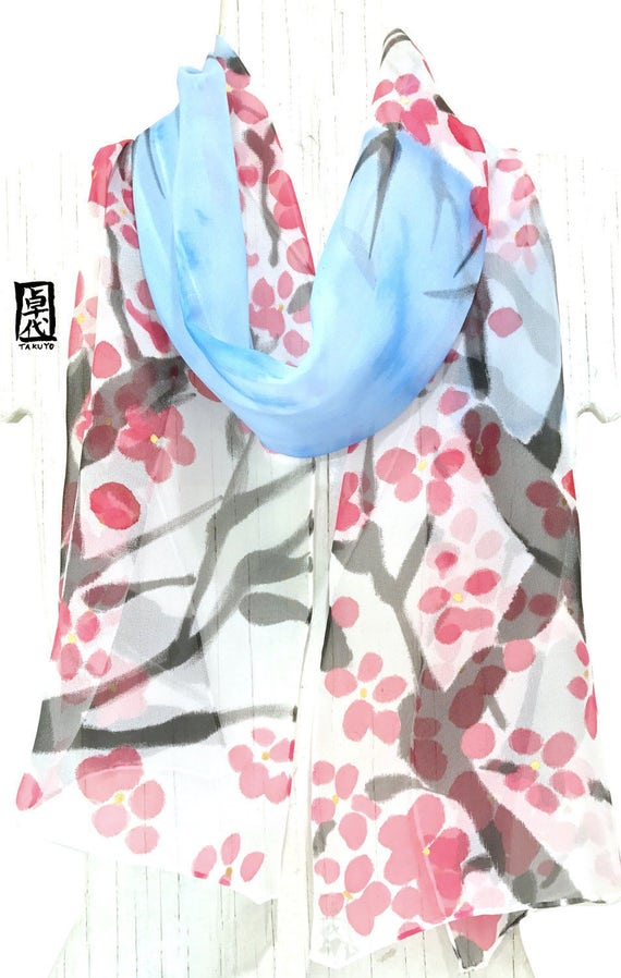 Spring Blue Scarf, Silk Summer Scarf, Handpainted Scarf, Scarf for Wife, Red Plum Blossoms under the Blue Sky, 11x60 inches. Made to order