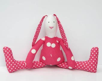Easter bunny rabbit doll fuchsia pink white polka dot stuffed bunny hare plush bunny softie stuffed toy baby shower Easter and birthday gift