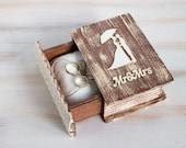 Rustic Ring Box Wedding Ring Box Mr. & Mrs. Ring Bearer Box Wedding Ring Holder Jewellry Box Brown Ring Box Еngagement ring box