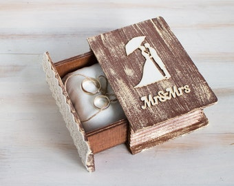 Rustic Ring Box Wedding Ring Box Mr. & Mrs. Ring Bearer Box Wedding Ring Holder Jewellry Box Brown Ring Box Еngagement ring box
