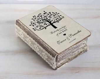 Ring bearer box, Personalized wedding box, Wedding ring box Love tree ring box Ring bearer pillow Engagement box Custom ring box Ring Holder