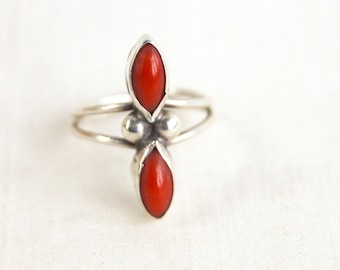 Red Coral Ring Size 7 .25 Southwestern Vintage Jewelry Long Statement Ring Sterling Silver Double Stone
