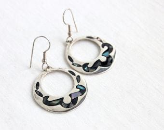 Mexican Dangle Earrings Vintage Abalone Hoops Statement Boho Dangles Inlaid Alpaca Hoop Earring