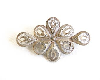 Filigree Flower Brooch Pin Mexican Sterling Silver Vintage Filligree Blossom Jewelry Gift for Her