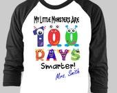 100 Days of School Shirt -  Teacher Shirt - Raglan TShirt.