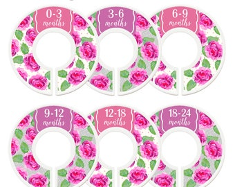 Closet Dividers, Assembled, Closet Organizers, Nursery, Closet Dividers, Pink, Purple, Flowers, Baby Shower Gift, Floral Nursery Decor, Girl