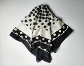Square scarf, black polka dot scarf, silky scarf, 1980's  scarf, black and white scarf