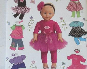 "Simplicity 1711 uncut pattern for 18"" doll clothes American Girl dress tutu leggings knit top pants headband"