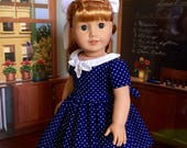 1950s Navy Blue and White Polka Dot Dress for Maryellen or 18 inch American Girl Doll