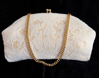 Vintage White Beaded Clutch Purse, Floral Design, Made in Japan