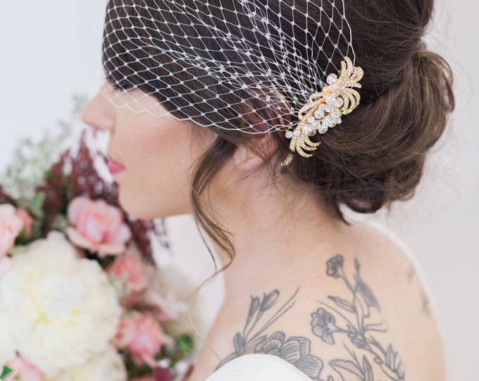 Birdcage Veil and Gold Bridal Comb, Bandeau Birdcage Veil, Gold Blusher Bird Cage Veil, QUICK SHIPPER, Gold Rhinestone Comb with Bridal Veil