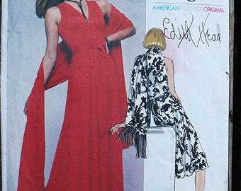 Very Easy Vogue Designer Original Edith Head 1561 1970s 70s Disco Era Wrap Dress Vintage Sewing Pattern Size 10 Bust 32.5