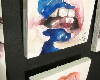 Painted (Lips) I, No. 285, Original Artwork, Artblock, Acrylic painting, Gift Ideas, Lips Series, lips, Pink abd Blue, decor
