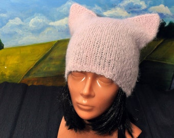 Pussy Power, Cat Beanie, That Cat Hat, Pink Pussycat Hat, Pussy Hat Project, Pink Cat Hat, Feminist Hat, Pink Pussy Hat, Cat Lover Hat